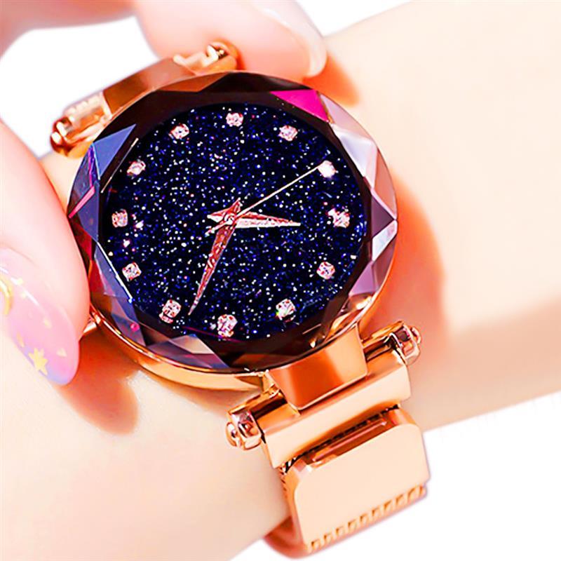 Роскошные Звездное небо женские часы розовое золото магнитный браслет сетка полоса стразы женские кварцевые часы на запястье женские часы ...