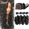 Malaysian Virgin Hair 4 Bundles With Closure Loose Curly Virgin Hair With Closure Malaysian Loose Wave With Closure Middle/Free