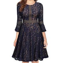 Half Flare Sleeve Solid Full Lace Contrast Big Swing Dress Women Party & Daily A-Line Knee-Length O-Neck Dress contrast color full length dress