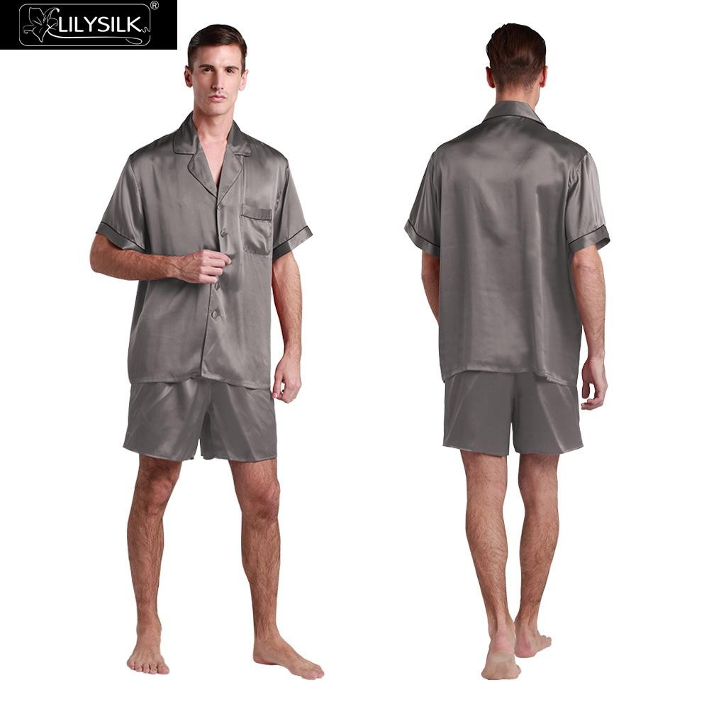 1000-dark-gray-22-momme-contrast-trim-short-silk-pyjamas-set