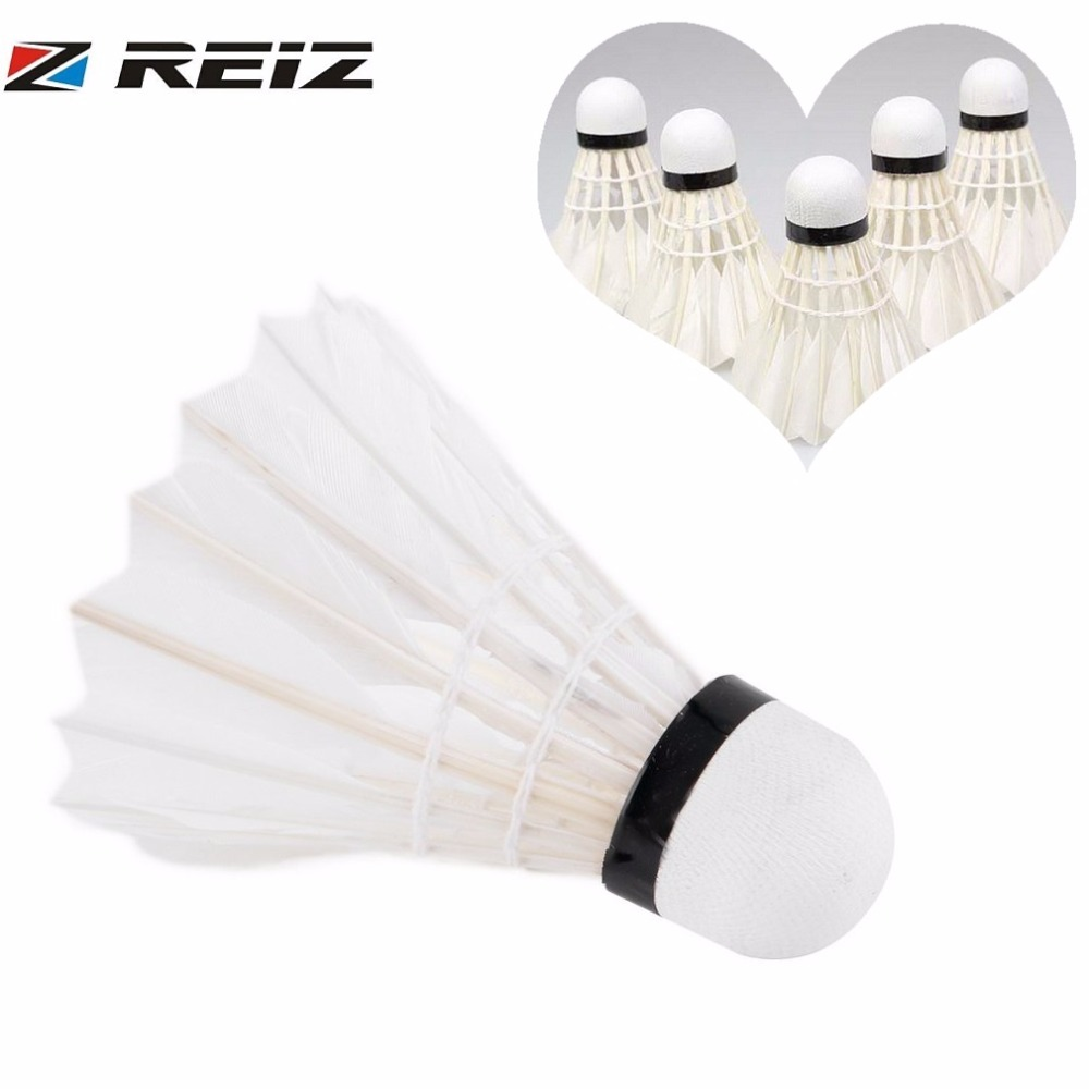 REIZ 5pcs Shuttlecock Bird Duck Feather White Badminton Ball Exercise Sport Training Competition For Practice and Play