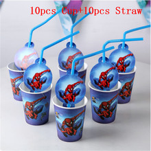 20pcs Spiderman Party Supplies Theme Decoration Disposable Drinking Straws Cups Birthday Favors