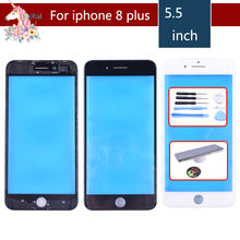 For iPhone 8 PLUS Touch Screen Digitizer Lens Front glass LCD panel with frame bezel for iphone8p LCD External GLASS Replacement цена в Москве и Питере