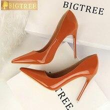 BIGTREE/женские туфли лодочки Мода 10,5 см тонкий высокий каблук кожа с закрытым носком пикантные тонкий острый носок женская обувь