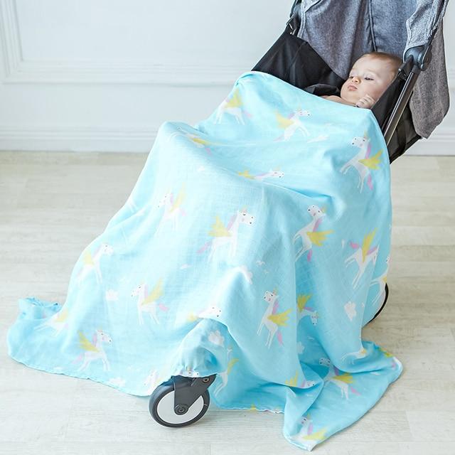 60151b23edb9 Muslin Baby Swaddle Blanket Newborn Infant Stroller Cover Baby Photography  Wrap Boys Unicorn Blankets Kids Bedding Play Mat
