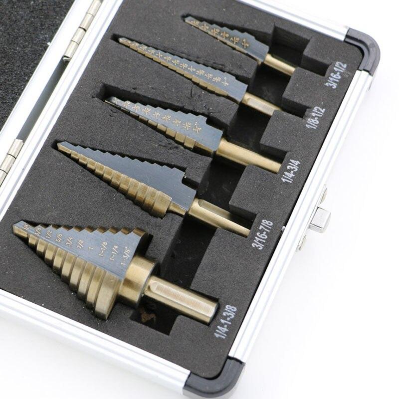 Alta Qualità di arrivo 5 pz/set HSS COBALTO FORI MULTIPLI 50 Formati STEP DRILL BIT SET w/Caso di Alluminio