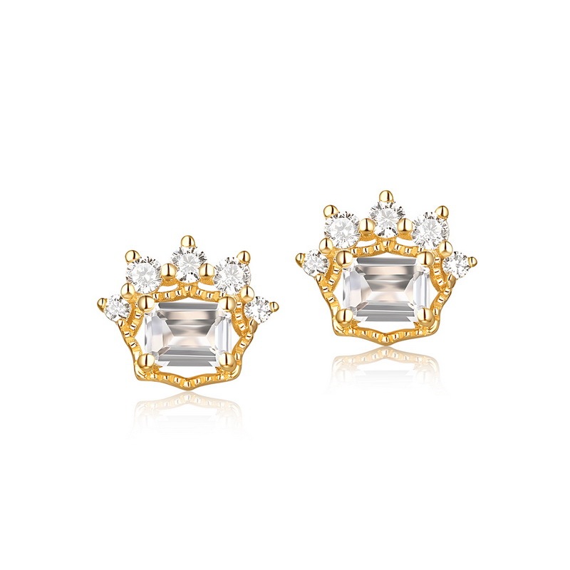 JXXGS Jewelry 14K Gold 3A Cubic Zircon Earrings Cat Foot Shape Stud Earrings For Girls