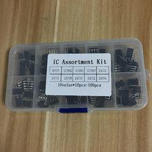 100 sztuk/partia w powszechne zastosowanie DIP IC zestaw NE555 UC3842 UC3843 UC3845 24C02 24C04 24C08 24C16 24C32 24C64 zanurzyć każdy 10 sztuk