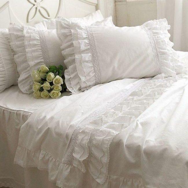 Ensemble de lit princesse à volants, double roi reine fantaisie élégant fairyfair blanc dentelle coton couvre-lit taie d'oreiller housse de couette