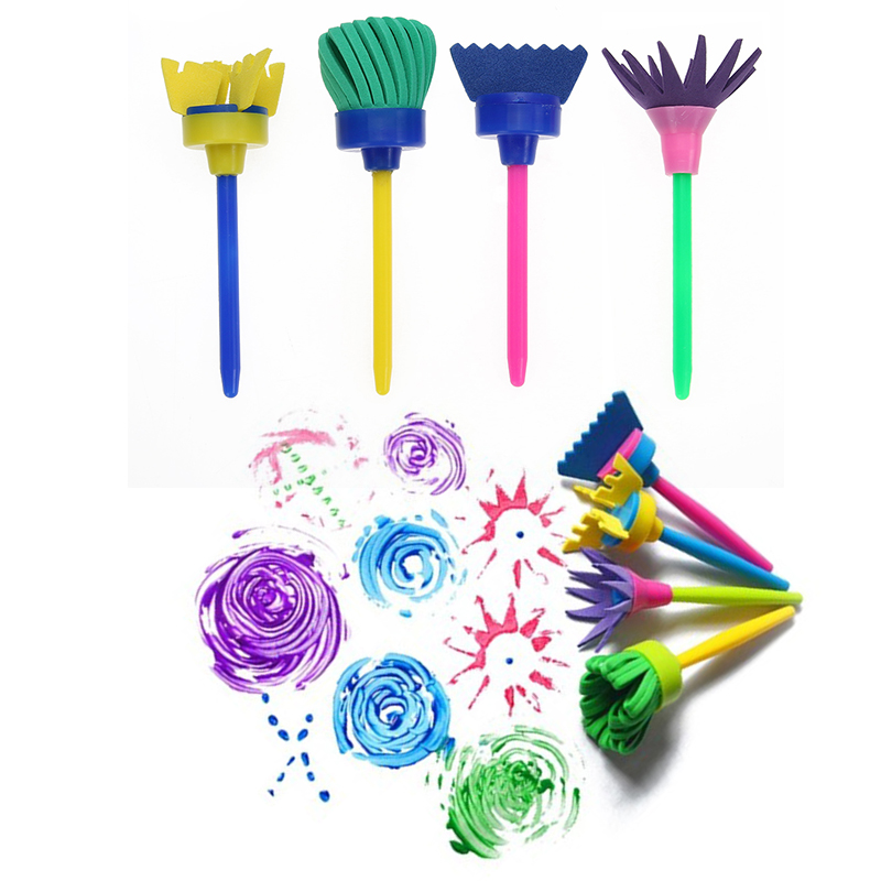 VODOOL 4Pcs/set Flower Art Paint Brush Rotate Spin Sponge Kids Children Graffiti Drawing Painting Toy School Stationery Supplies
