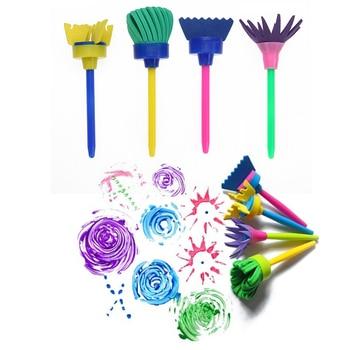 VODOOL 4Pcs/set Flower Art Paint Brush Rotate Spin Sponge Kids Children Graffiti Drawing Painting Toy School Stationery Supplies