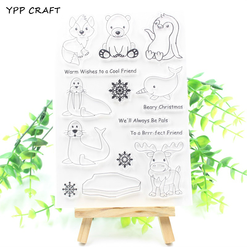 YPP CRAFT Arctic Animals Transparent Clear Silicone Stamps for DIY Scrapbooking Planner/Card Making/Kids Crafts Fun Decoration