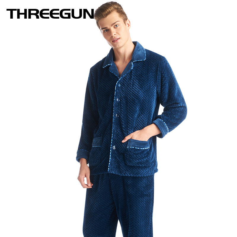 THREEGUN Winter 2018 New Flannel Warm Pajamas Men Thick Fleece Pajama Sets Plaid Suits Casual Home Clothes Pijama Lounge Wear(China)