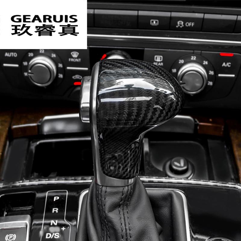 Car styling true carbon fiber Car Gear Shift Knob Cover Level Head Sheath For Audi A4 B8 A5 S5 A6 C7 A7 Q5 Q7 Auto accessories