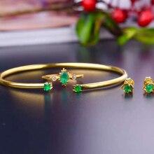 Натуральный зеленый колумбийский изумруд 925 пробы серебряные ювелирные изделия набор драгоценных камней ювелирные изделия для женщин модные свадебные/вечерние