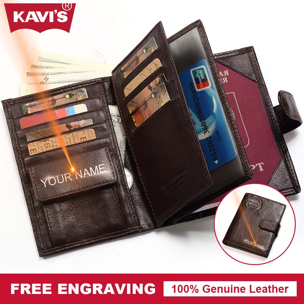 KAVIS Genuine Leather Wallet Men Passport Holder Cover Coin Purse Travel Case Walet PORTFOLIO Portomonee Vallet and Card for Car document for passport badge credit business card holder fashion men wallet male purse coin perse walet cuzdan vallet money bag