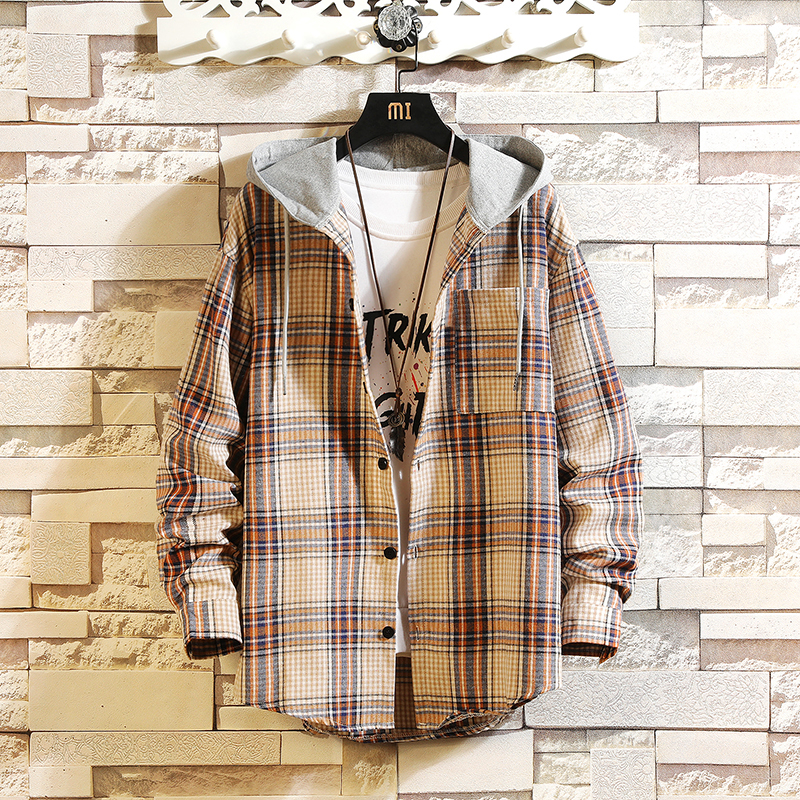 Casual Brand With Hooded Plaid Shirt Men Shirts Long Sleeves 2019 New Spring Autumn Plus Asian Size M-5XL