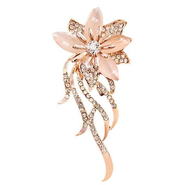 Moda Opal Fiore di Pietra Spilla Spille Le Donne Abbigliamento Accessori Gioielli Spilla di Strass Spille Per Accessori Dei Monili Delle Donne
