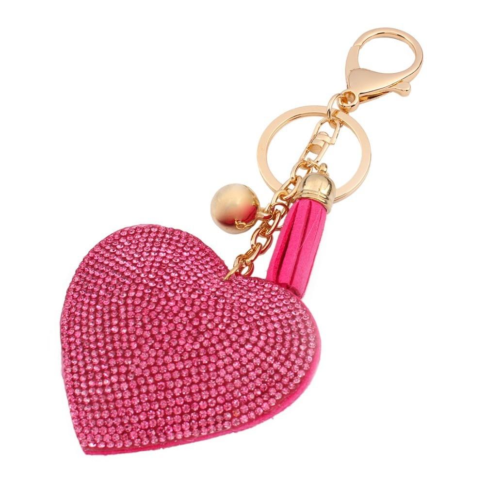 4 Colors Romantic Women Keychain Love Heart Pendant Leather Rhinestone Key Finder Key Rings Accessories Women