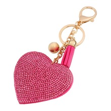 4 Colors Romantic Women Keychain Love Heart Pendant Leather Rhinestone Key Finder Key Rings Accessories Women Chaveiro K00401