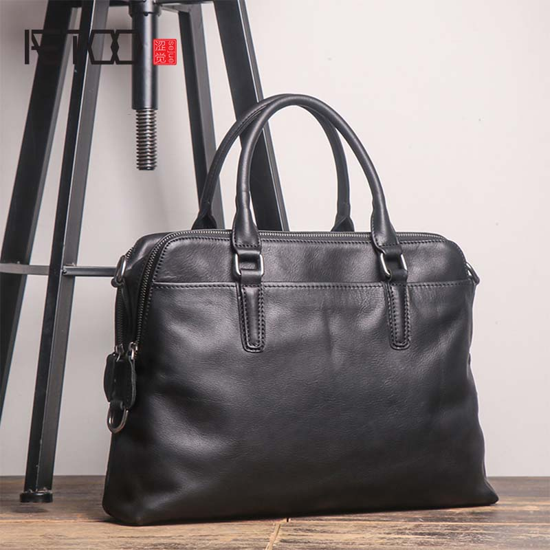 AETOO New high quality briefcase men's leather laptop bag top layer leather casual shoulder diagonal large business briefcase image