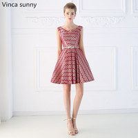 Vinca Sunny 2018 Short Design The Banquet Red Striped Lace Dress One Piece Dress V Neck