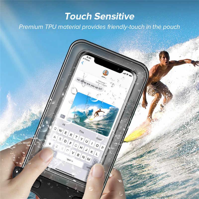 Saat Ini Tahan Air Case untuk iPhone X 8 7 6 S Plus Penutup Tas Kantong Case untuk Huawei Redmi Tritone Air bukti Kasus Telepon untuk Android