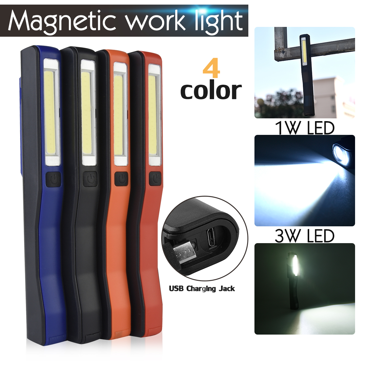 COB LED Taschenlampe Aufladbare USB Magnetic Stift Licht Taschenlampe Arbeit Licht Für Camping Lanterna Taktische Nacht Licht Eingebaute 14500