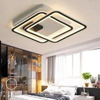 Новое поступление Черный и белый светодиодный Люстра для гостиной кабинет Спальня квадратный Алюминий современный светодиодный потолочна