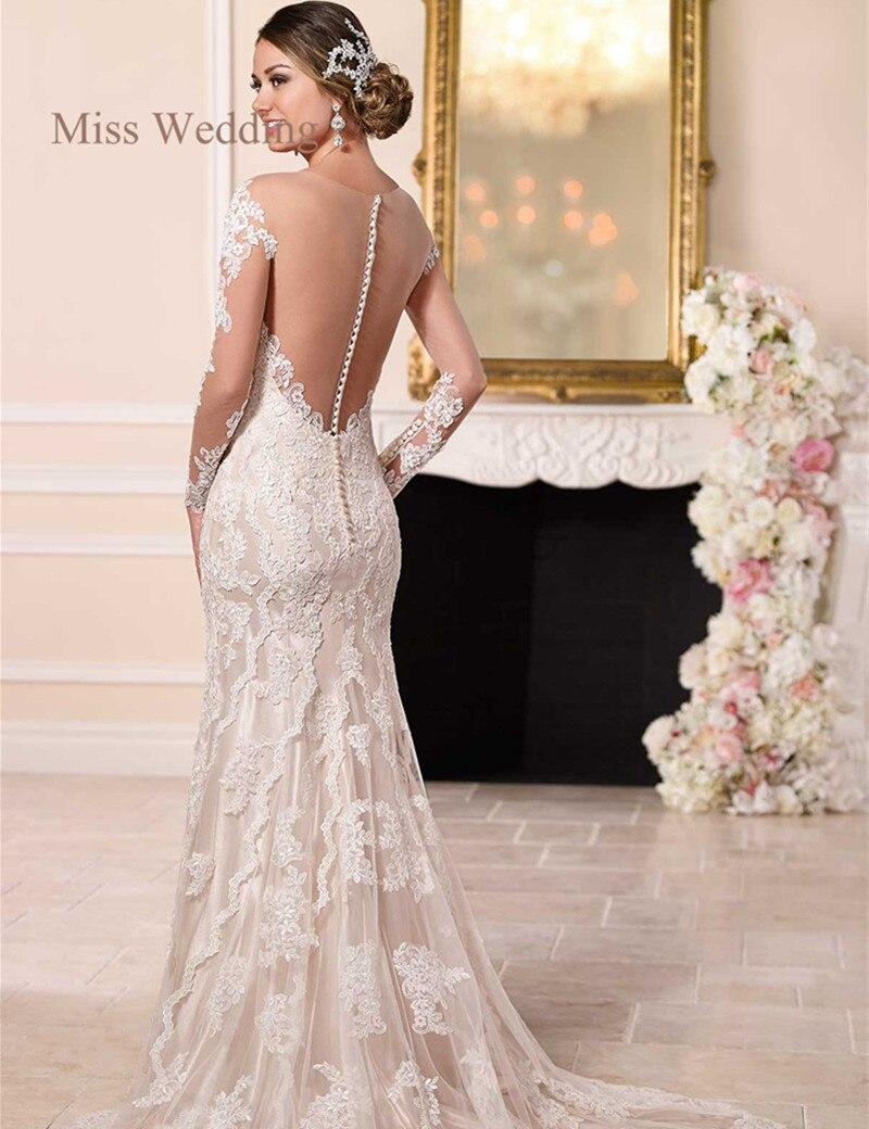 Long Sleeve Lace Wedding Dress Vintage Style White Ivory ...