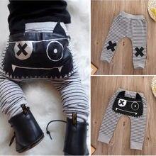 Полосатые хлопковые штаны-шаровары с монстрами для новорожденных мальчиков и девочек, леггинсы, брюки для детей от 0 до 24 месяцев