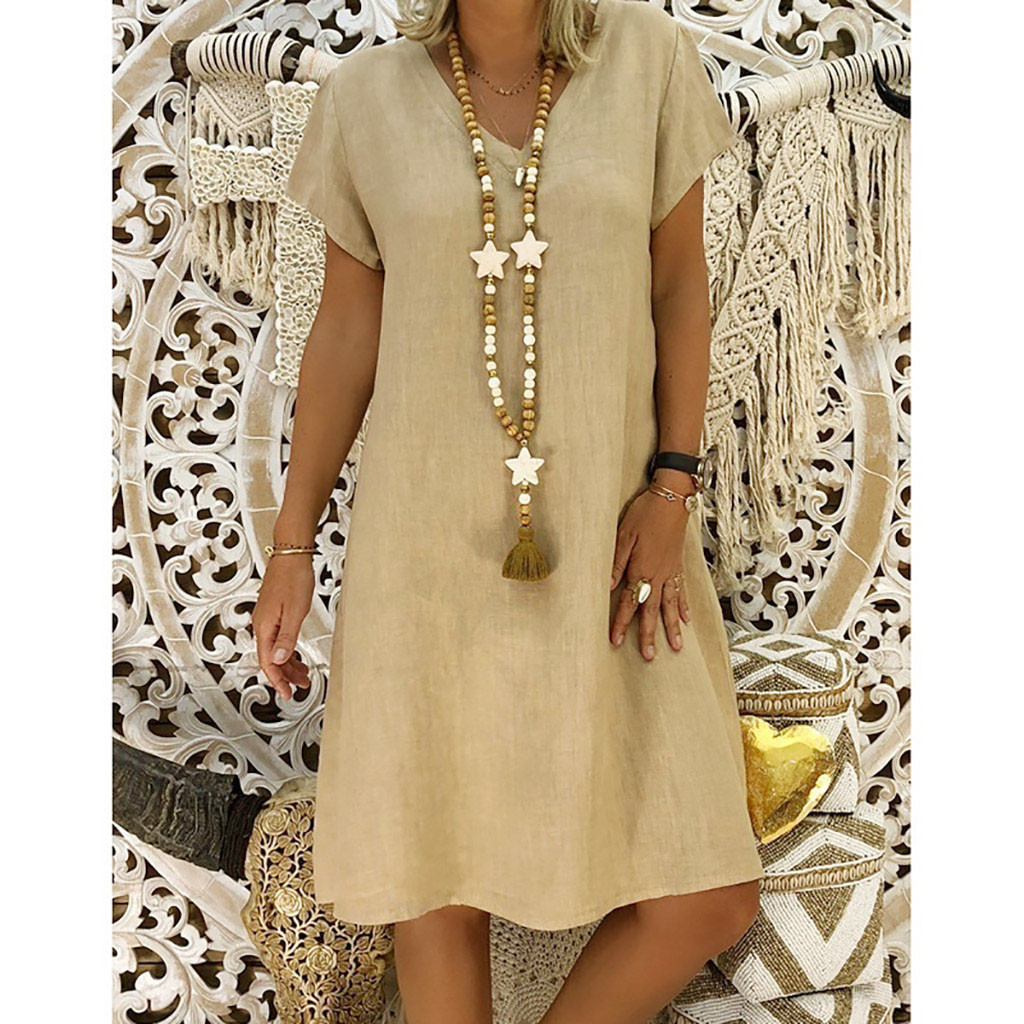 2019 New Spring Fashion Women Summer Solid V-Neck Dress Ladies Cotton Casual Plus Size  Dresses For Female Vestido 40 1