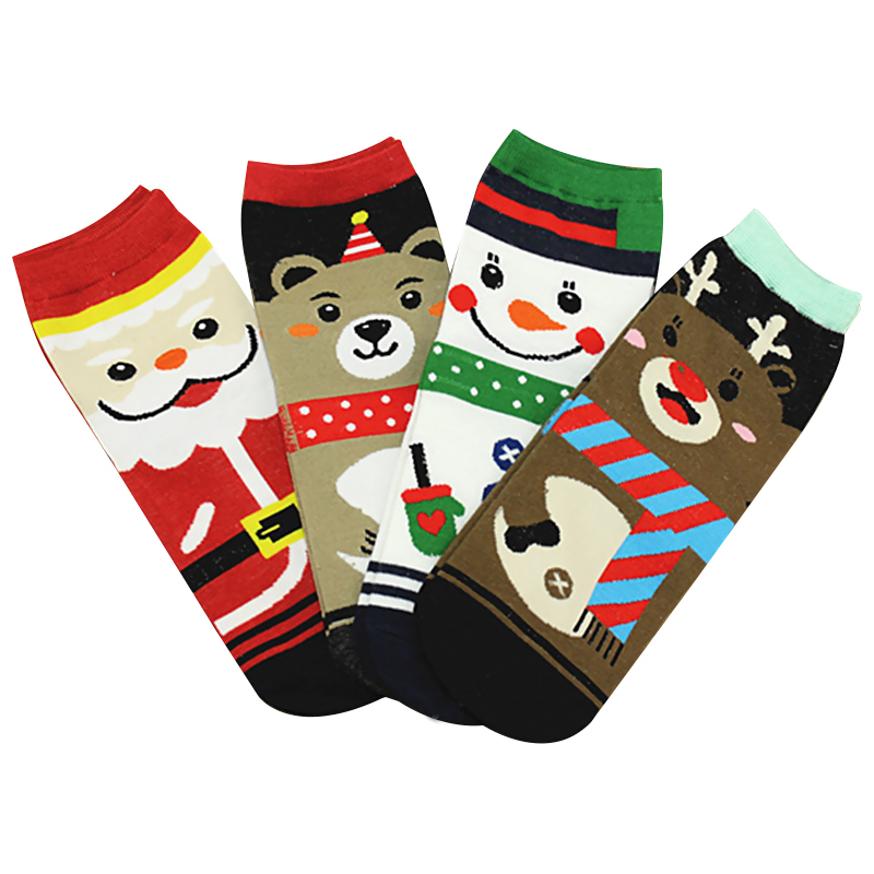 Women Winter Socks 3D Printed Christmas Warm Soft Cotton Sock Cute Santa Claus Deer Snow ...