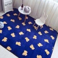 80X185 cm fluwelen stof donkerblauw mat tapijt kinderkamer cartoon beer tapijten matten voor woonkamer nachtkastje kleed