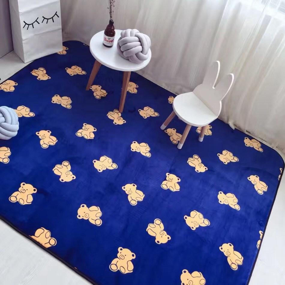 online get cheap modern kids rugs aliexpresscom  alibaba group - xcm velvet fabric dark blue mat carpet kids room cartoon bear carpetsmats for living room bedside rug