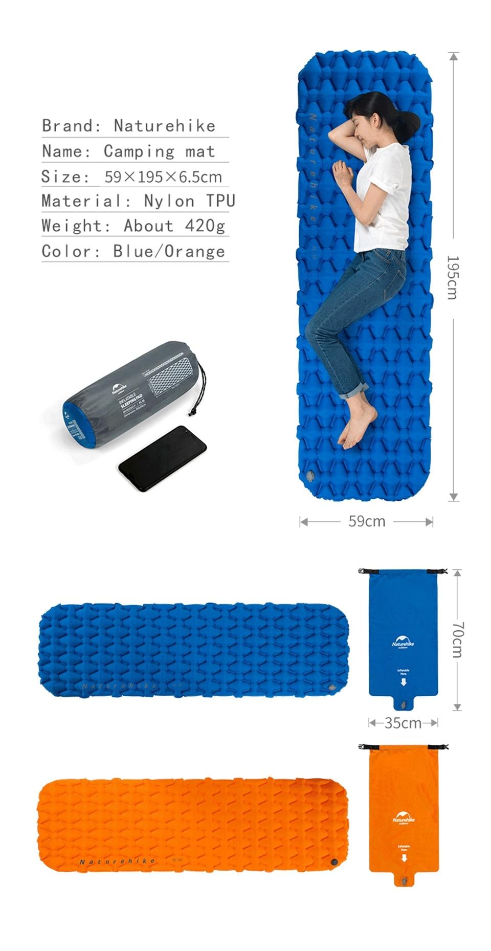 Naturehike Ultralight Outdoor Inflatable Cushion Sleeping Camping Mattress