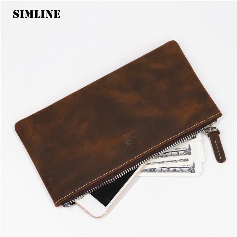 SIMLINE Genuine Leather Men Wallet Men's Vintage Long Zipper Slim Clutch Wallets Coin Purse Pocket Card Holder Phone Pouch Male simline vintage genuine crazy horse cow leather men men s long hasp wallet wallets purse zipper coin pocket holder with chain