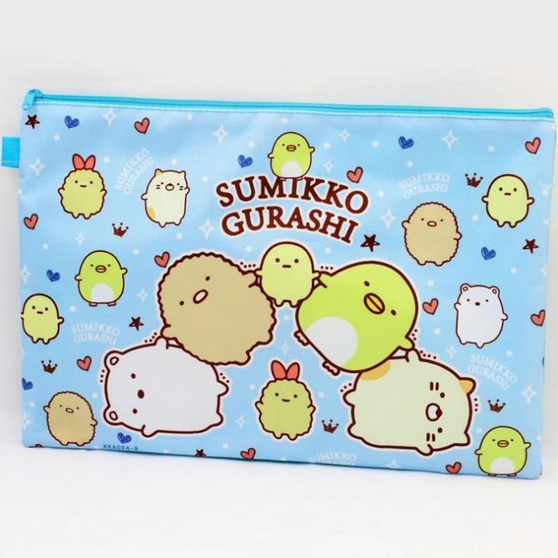 1 Pcs Cartoon A4 Sumikko Gurashi Twin Stars Cinnamoroll Dog Document Bag File Folder Document Filing Bag Stationery Zipper Bag