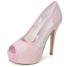 Frau absatzplattform peep toe weiche mesh spitze schuhe süße hochzeit prom quinceanera homecoming pumpen rosa weiß schwarz