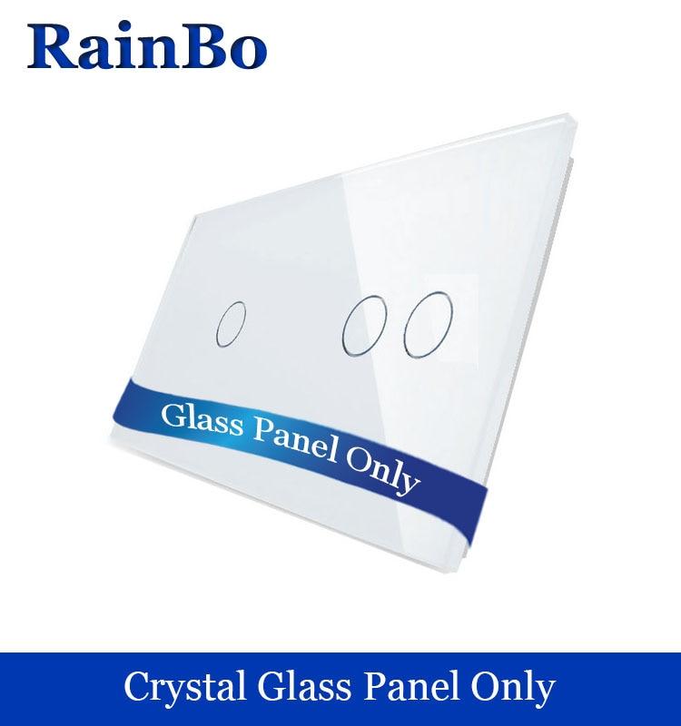 RainBo Freies verschiffen Kristallglas-verkleidung 3 banden Wandschalttafel 151mm * 80mm EU Standard DIY Zubehör A2912W/B1