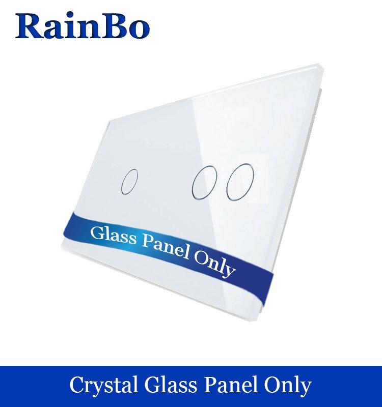 Rainbo envío libre doble de lujo panel de cristal 3 pandillas interruptor de pared panel 151mm * 80mm estándar de la UE DIY accesorios A2912W/B1