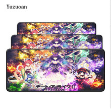 Yuzuoan Large Lock Edges Soft/Rubber Anime Girl Gaming Mousepad PC Computer Notebook Desk Mice Play Mat Black Pad For Optical