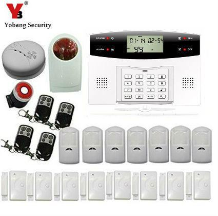 YoBang Security Wireless GSM Home Security Alarm System Russian French Ltalian Voice Smoke Door PIR Alarm Sensor +Wireless Alarm