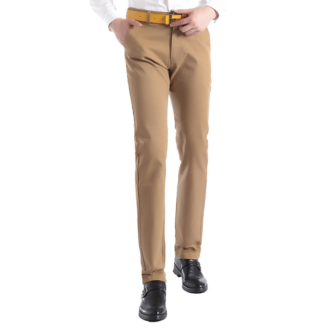 Новый Мужчины Повседневная Брюки Прямые Slim Fit Брюки Khaki Хлопок Chinos Pantalon Homme Plus Размер 28-38 13M0251