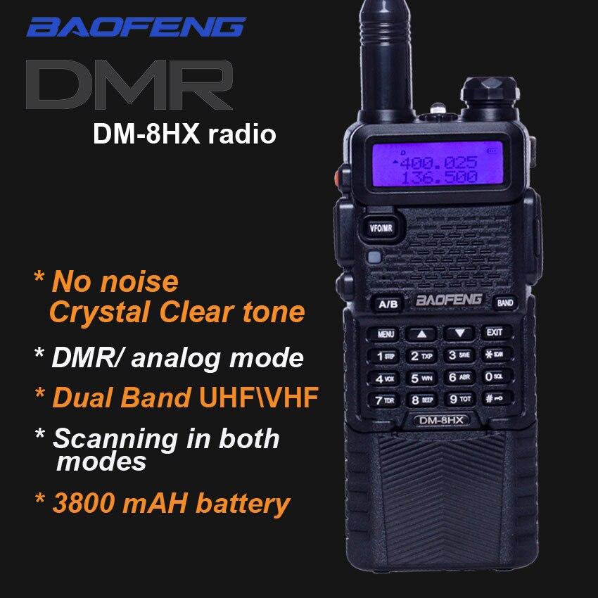 2018 Nouveau Numérique Talkie Taklie DM-8HX Double Bande DMR Émetteur-Récepteur vhf uhf Radio sœur Baofeng DM-5R Plus MD-380 DM5R uv 5r uv-9r