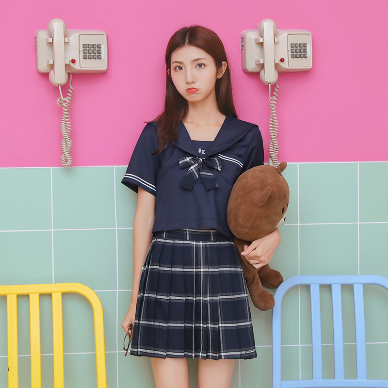 Lovely Girl Jk Orthodox School Uniform Japanese Cosplay Short Sleeved Sailors Suit Student College Clothes Tops Pleated Skirt