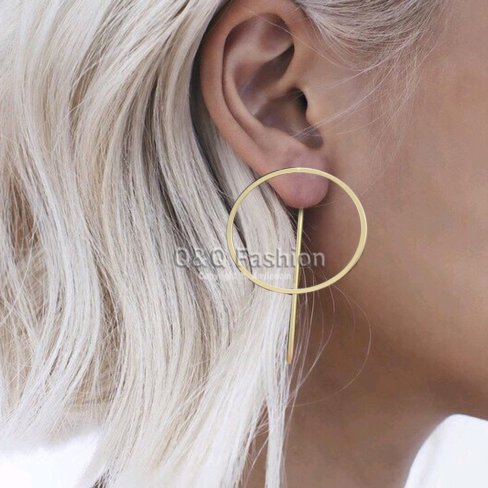 Blogger Celebrity 1pair Hoop Threader Pull Thru Through Ear Studs Earrings Jewelry Runway Catwalk Gold Silver 2 Colors In Stud From