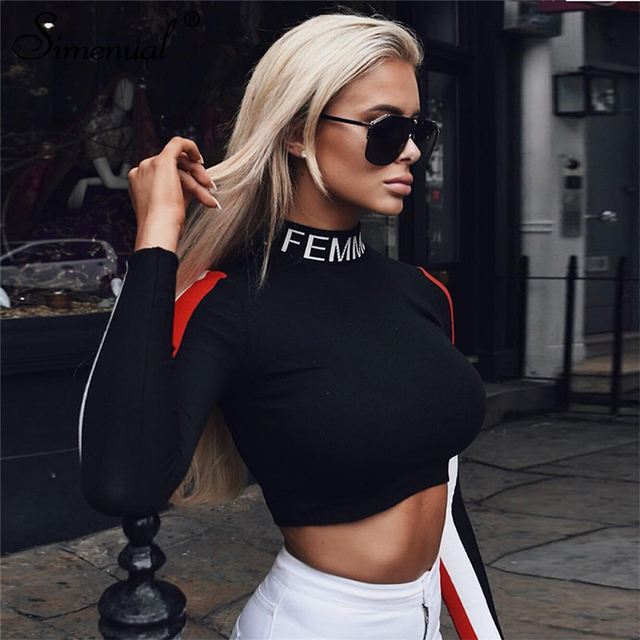 Simenual Letter turtleneck women's t-shirts long sleeve crop top slim casual female t shirt autumn patchwork tops 2018 fashion