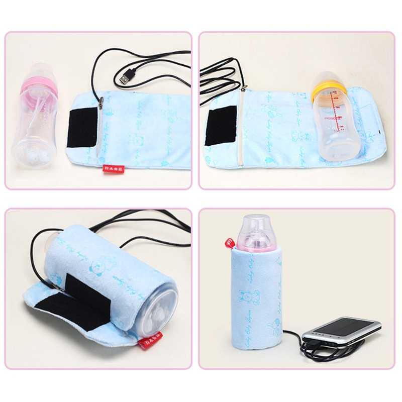 USB Milk Water Warmer Bag Travel Stroller Baby Nursing Bottle Heater