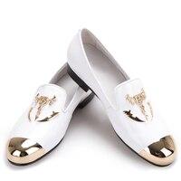 С металлическим носком и металлические пряжки череп Для мужчин из лакированной кожи повседневная обувь Для мужчин праздничная и Свадебная